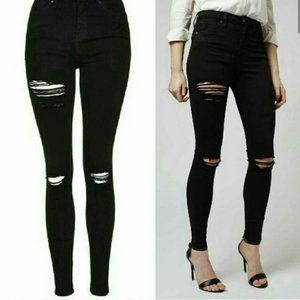 Topshop Jamie High Wast Distressed Jeans